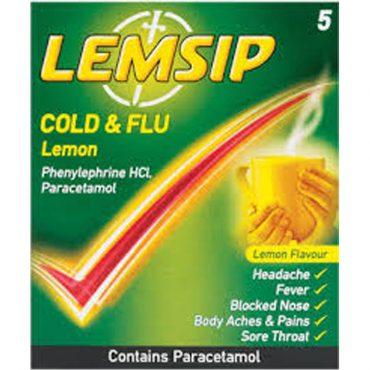 Lemsip Cold & Flu Hot Lemon 5's